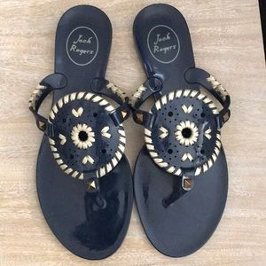JACK ROGERS GEORGICA NAVY AND GOLD JELLY SANDALS